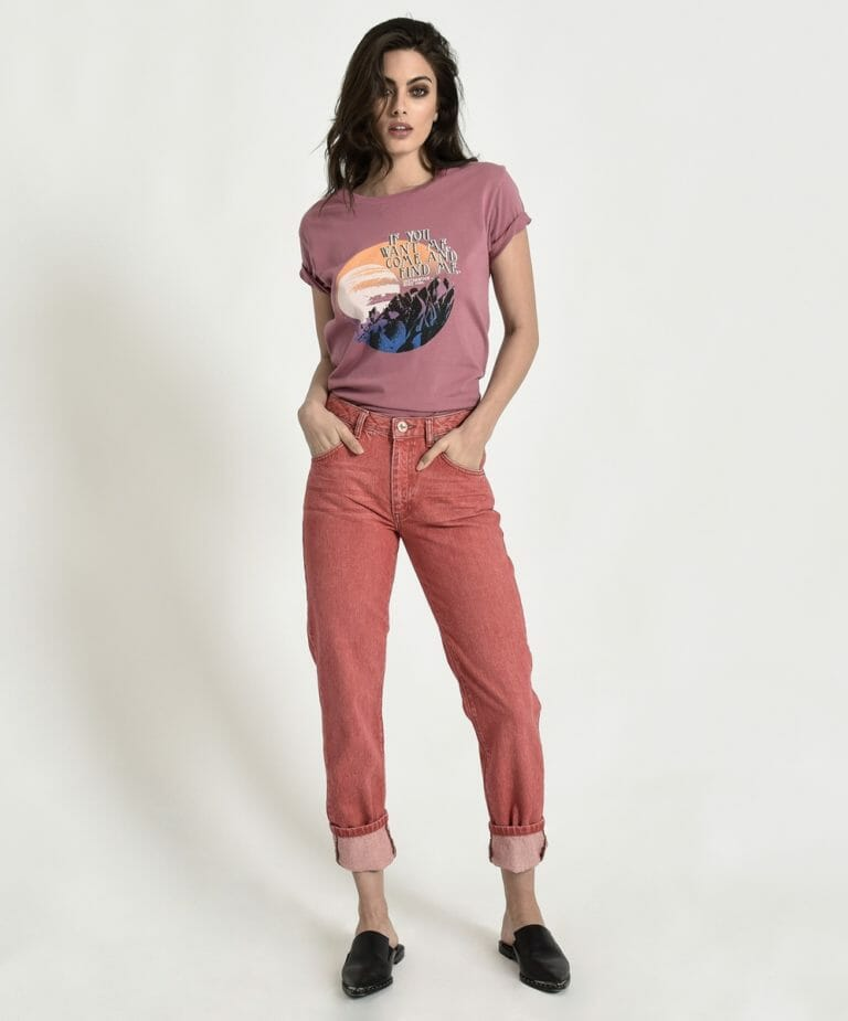 Organic Red Awesome Baggies High Waist Straight Leg Jean 1