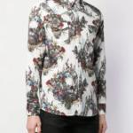 Koszula z motywem kwiatów i czaszki - John Richmond