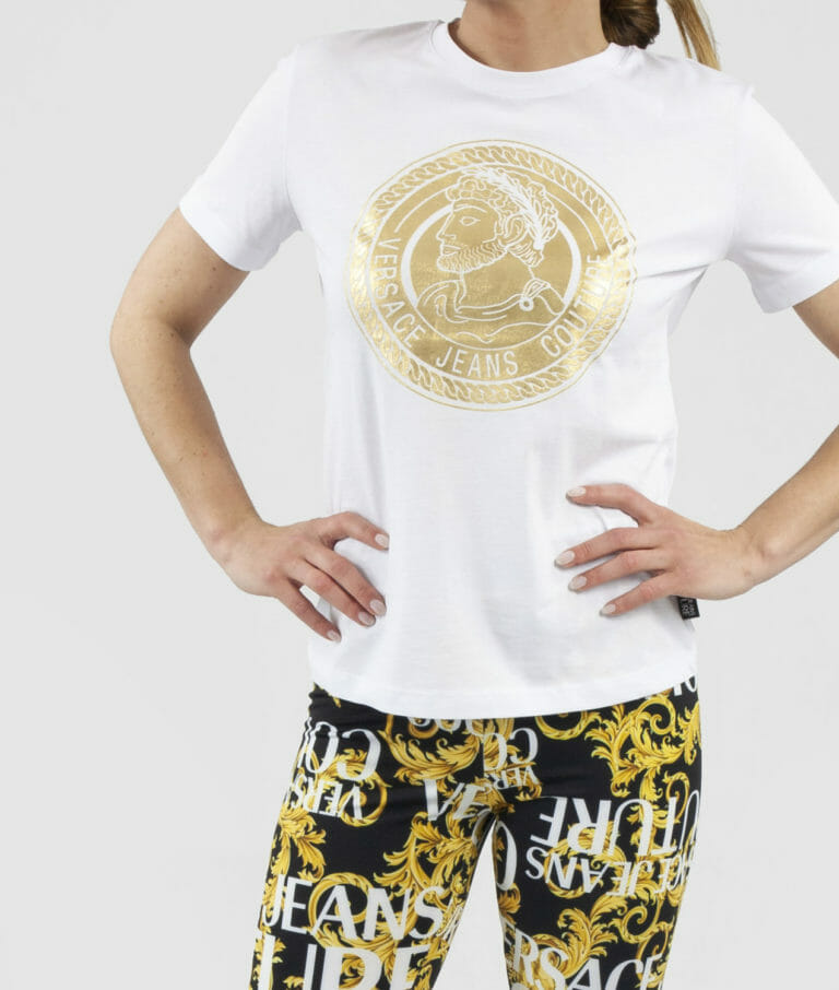 bialy t shirt damski versace jeans couture