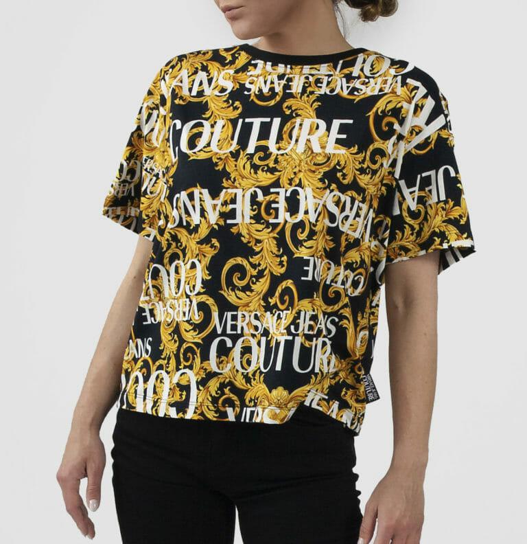 ciemny t shirt damski z logo versace jeans couture 3