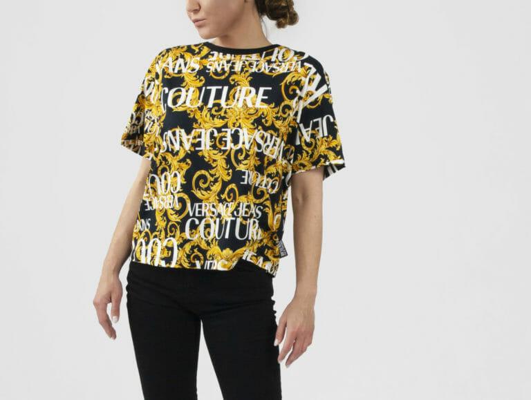 ciemny t shirt damski z logo versace jeans couture