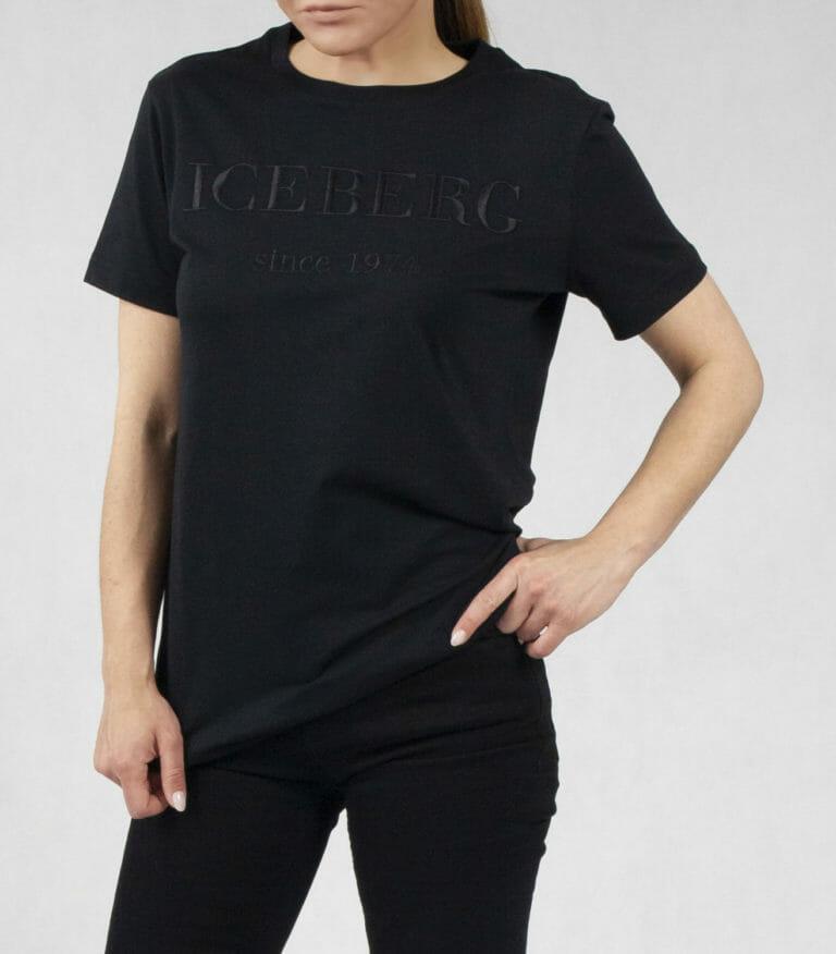 iceberg czarny t shirt z czarnym logo wyszytym 1