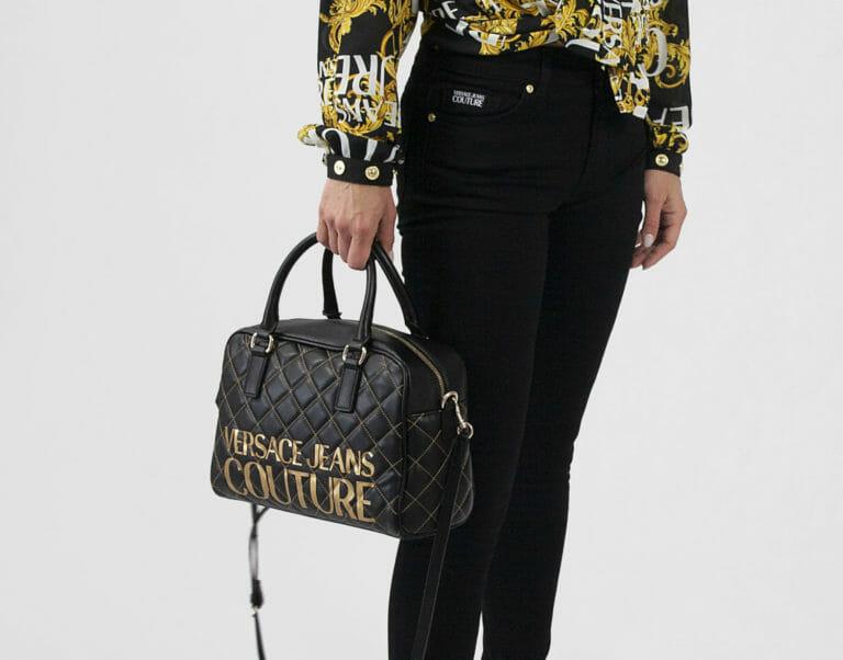 torba versace jeans couture skorzana czarna