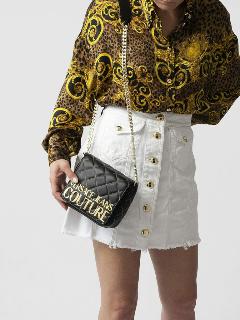 torebka versace jeans couture czarna ze zlotym logo