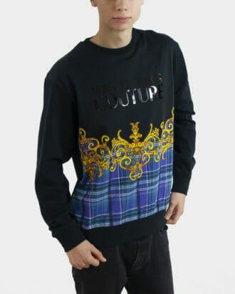 ciemna bluza versace jeans couture z printem i logo 2
