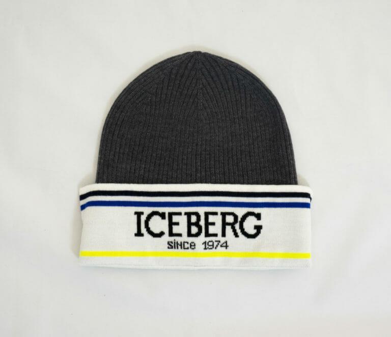 czapka iceberg zimowa szaro biala z niebiesko zoltymi paskami 1