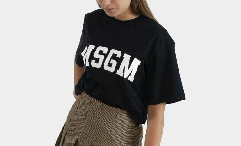 czarny t shirt damski msgm 1