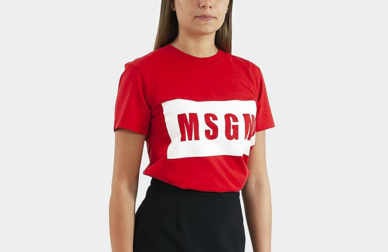 czerwony t shirt damski msgm