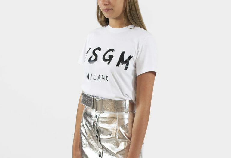 damski bialy t shirt msgm milano