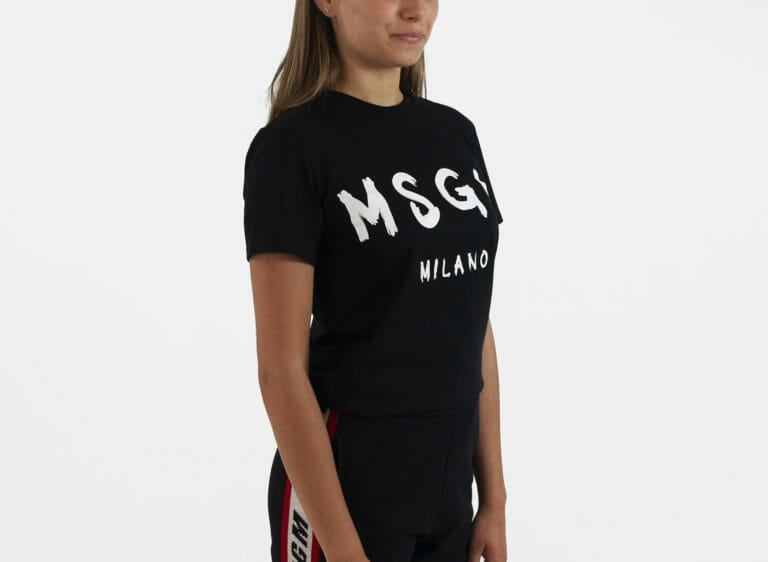 damski czarny t shirt msgm