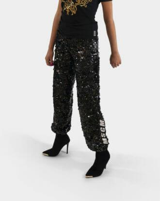 damskie spodnie z cekinami msgm 1