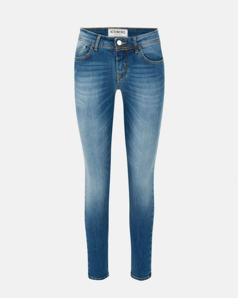 iceberg denim jeans with iceberg logo in stretch cotton 100 1