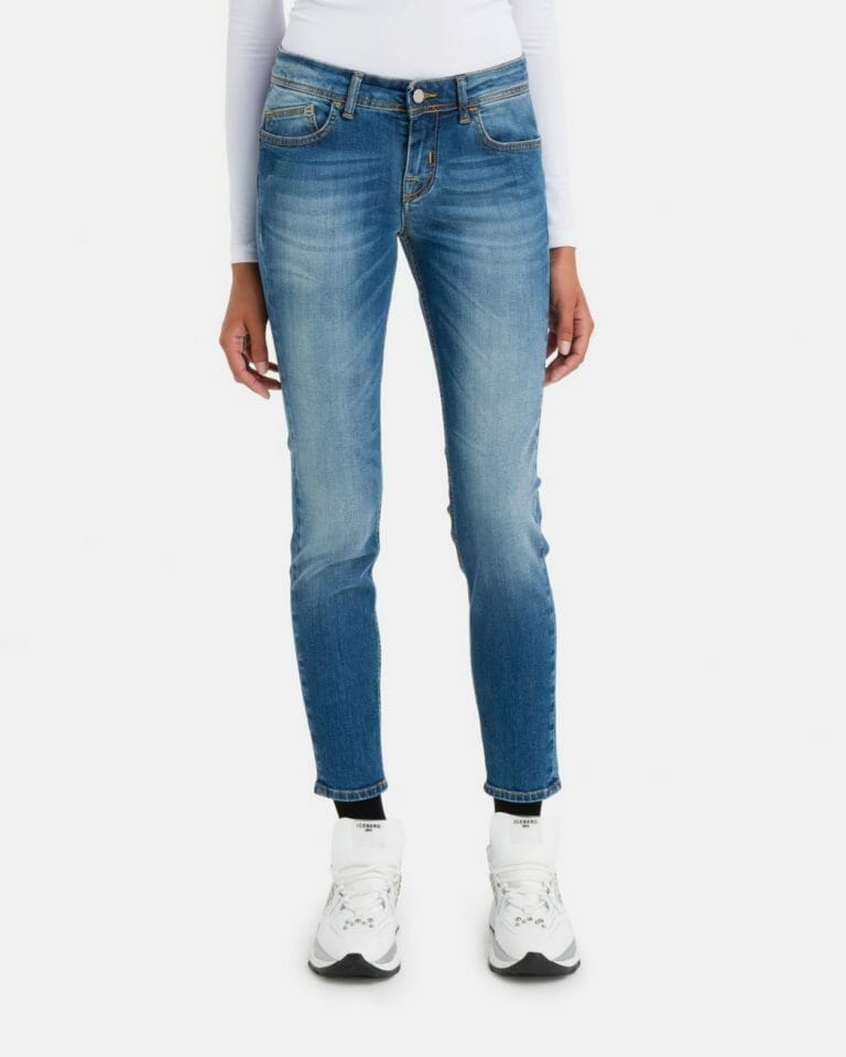iceberg denim jeans with iceberg logo in stretch cotton 2 1