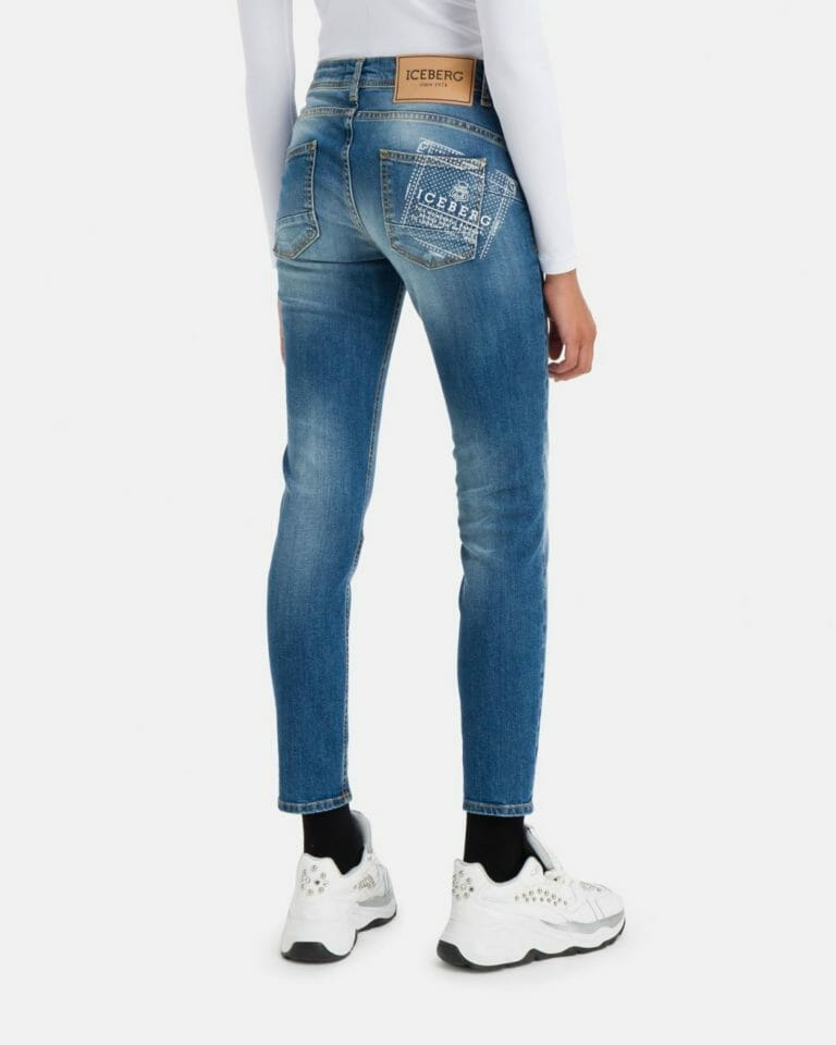 iceberg denim jeans with iceberg logo in stretch cotton 3 1