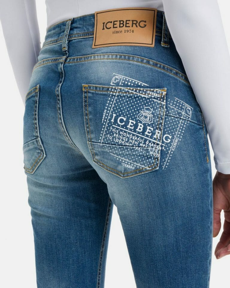iceberg denim jeans with iceberg logo in stretch cotton 4 1