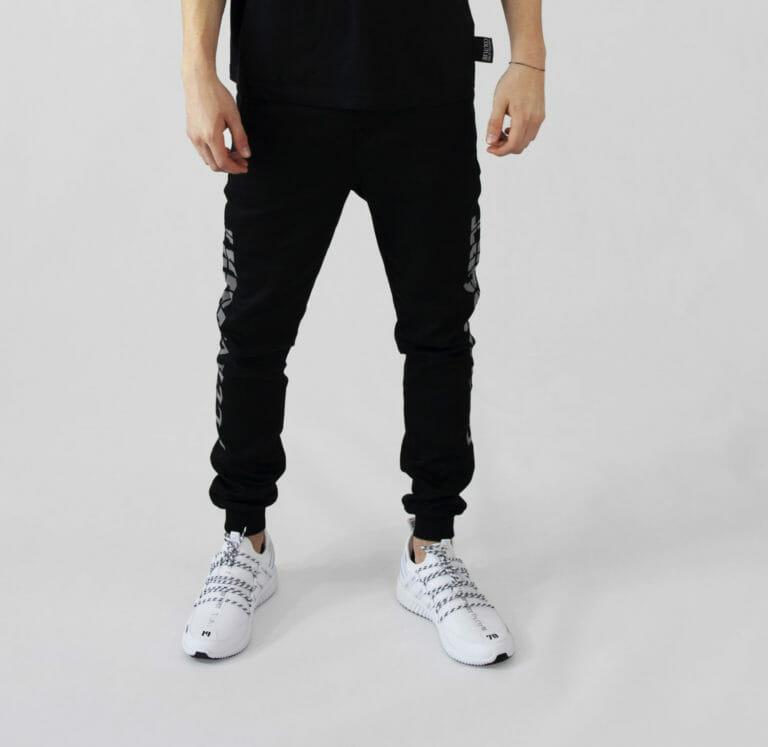męskie czarne dresowe spodnie plein sport 3
