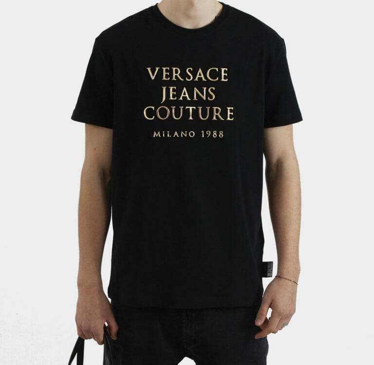 meski t shirt ze zlotymi literami versace jeans couture 2
