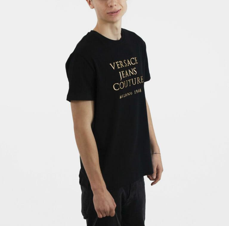 meski t shirt ze zlotymi literami versace jeans couture