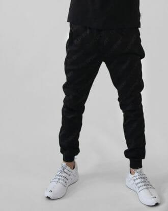 meskie czarne spodnie dresowe z printem 4