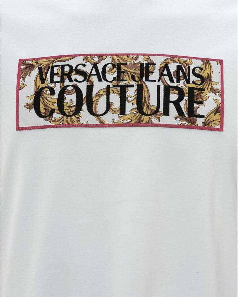 Biały t shirt z logo Versace Jeans Couture3