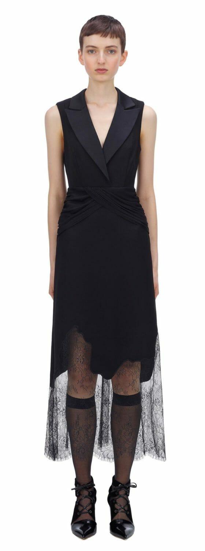 Sukienka czarna z głębokim dekoltem Self Portrait