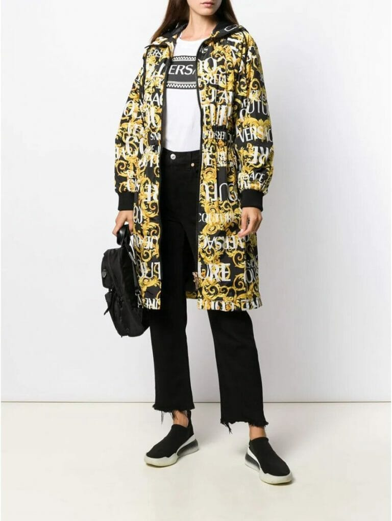 versace jeans couture hooded coat 1