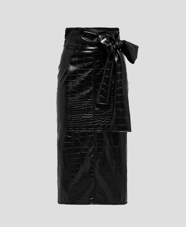Spódnica skórzana midi (czarna i czerwona) MSGM