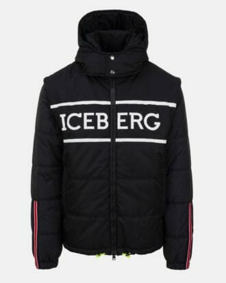 iceberg black quilted iceberg jacket with detachable hood and sleeves 100 1