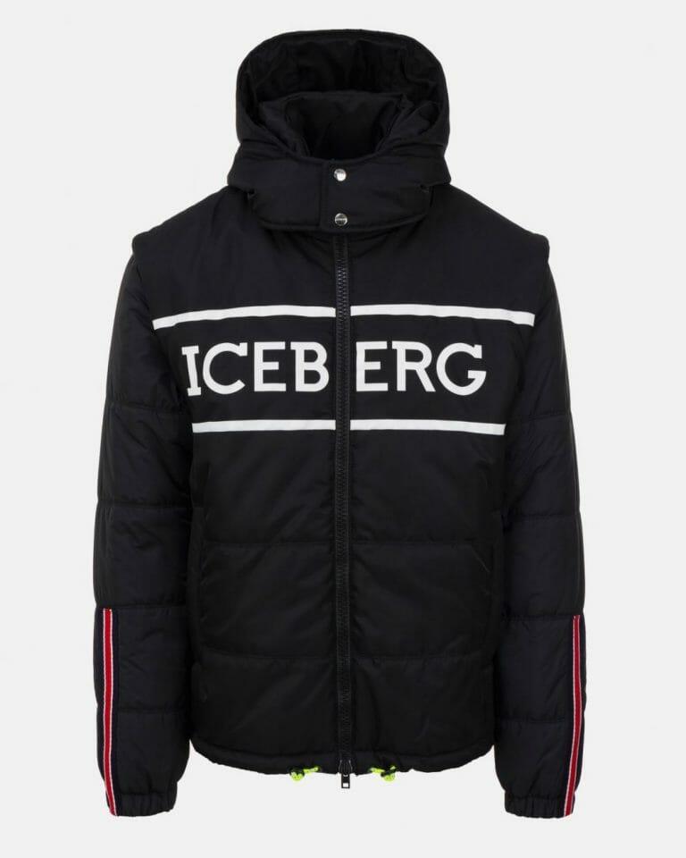 iceberg black quilted iceberg jacket with detachable hood and sleeves 100 1