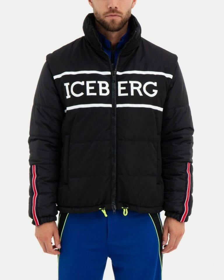 iceberg black quilted iceberg jacket with detachable hood and sleeves 2