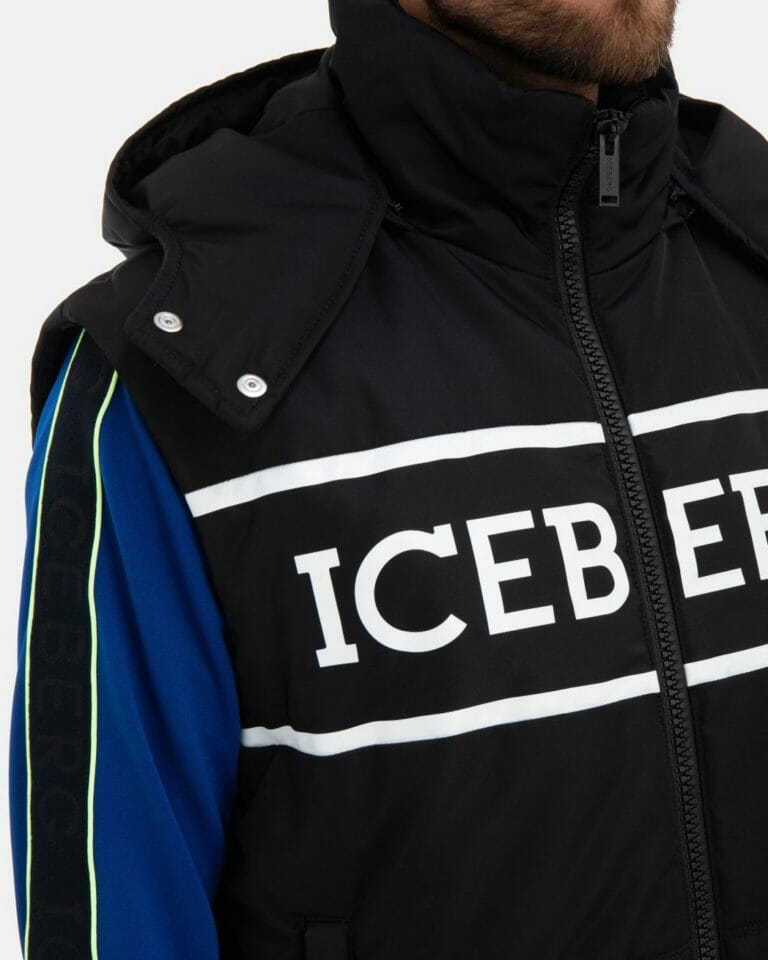 iceberg black quilted iceberg jacket with detachable hood and sleeves 4