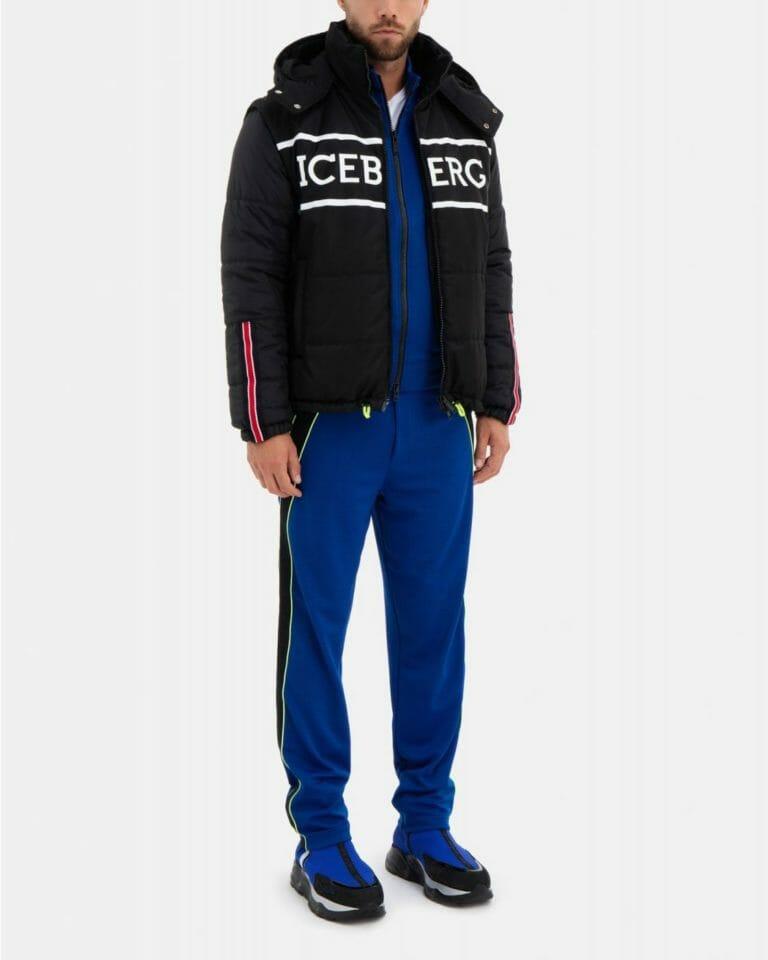 iceberg black quilted iceberg jacket with detachable hood and sleeves 5
