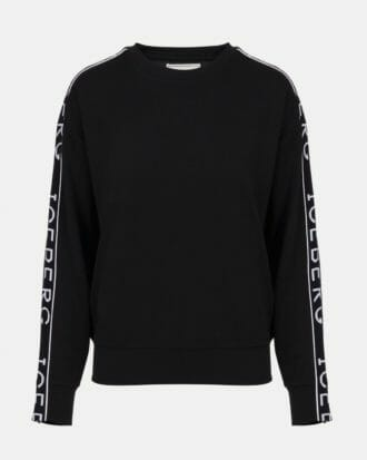 iceberg classic black sweatshirt with contrast white iceberg logo down sleeves 100