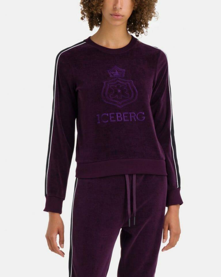 iceberg iceberg sweat t shirt in purple chenille with white contrast stripe 2 1