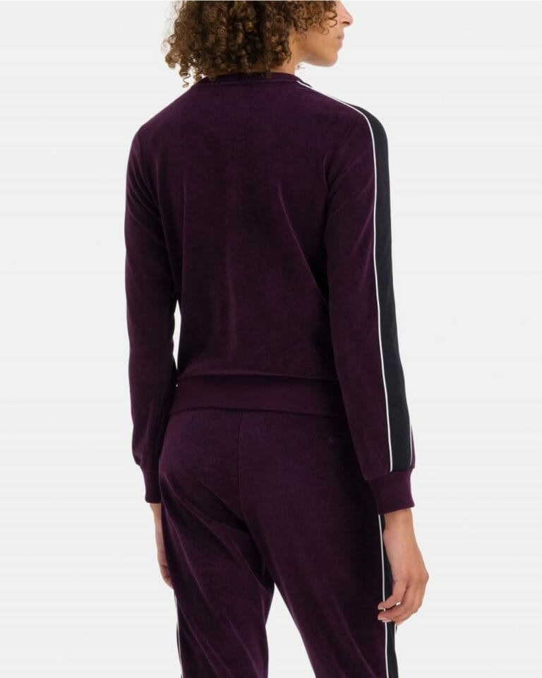 iceberg iceberg sweat t shirt in purple chenille with white contrast stripe 3 1