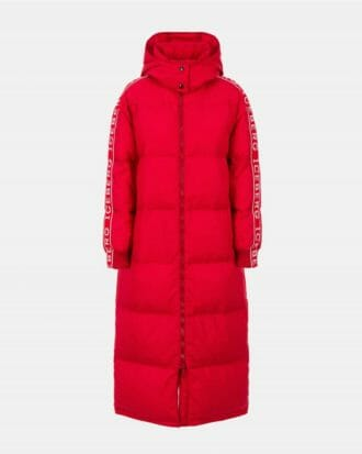 iceberg red padded iceberg coat with contrast logo sleeves 100 1