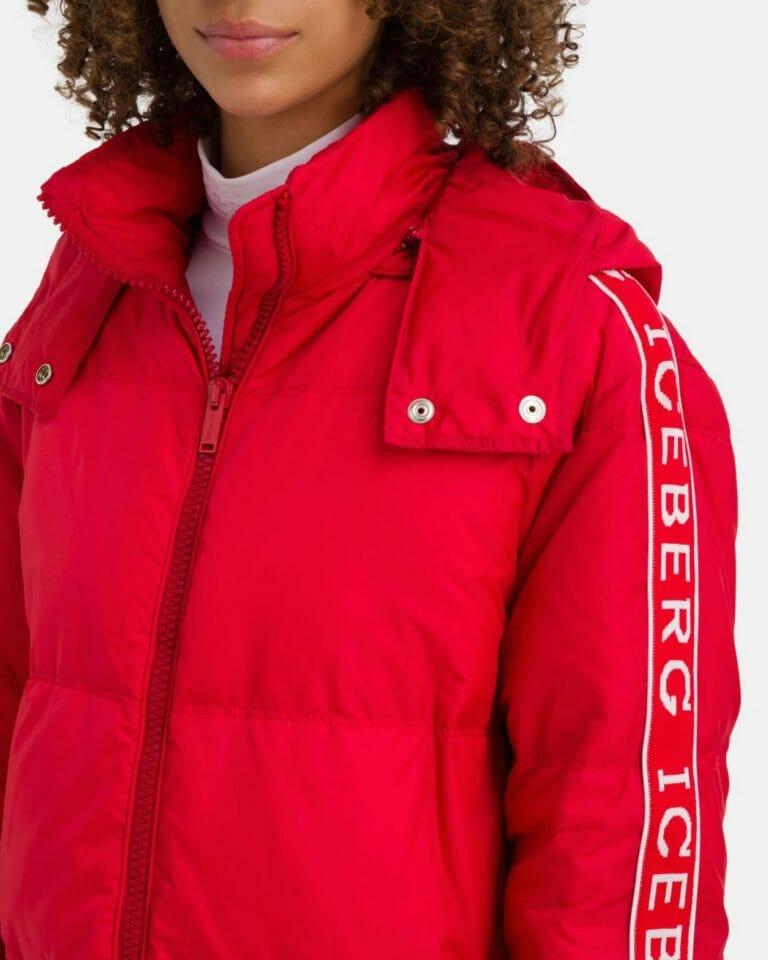 iceberg red padded iceberg coat with contrast logo sleeves 4 1