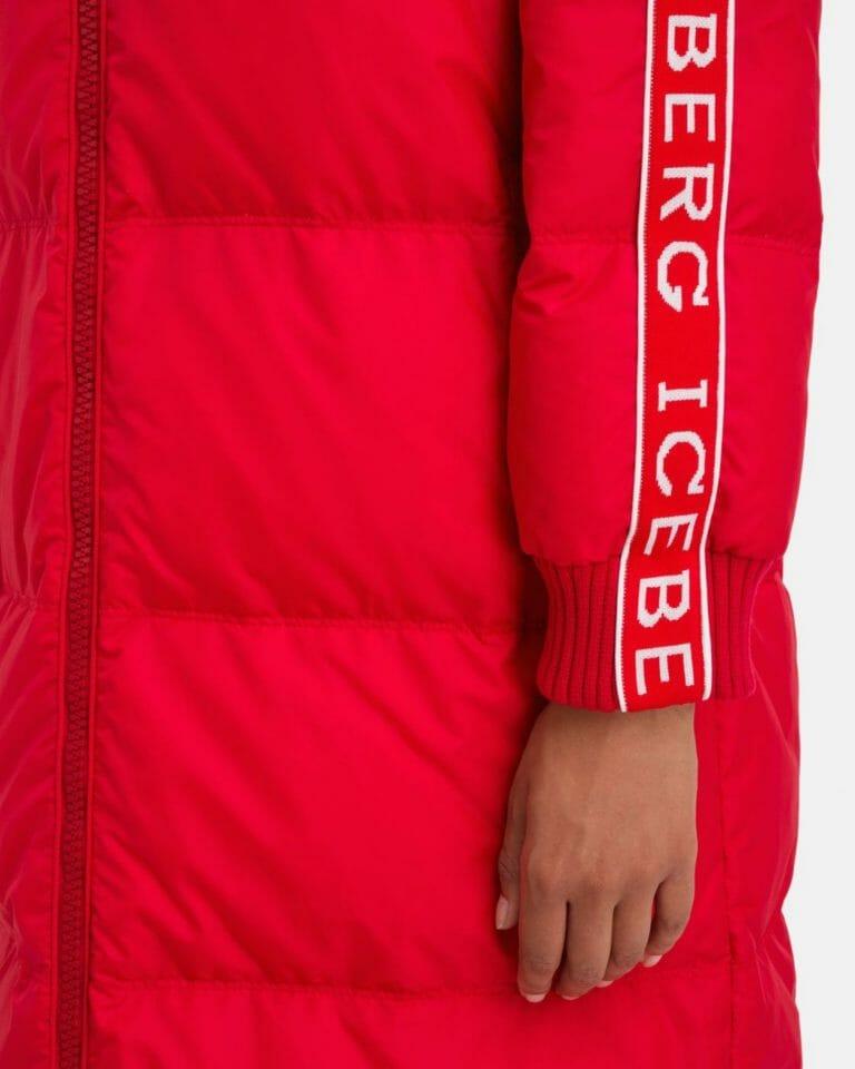 iceberg red padded iceberg coat with contrast logo sleeves 6 1