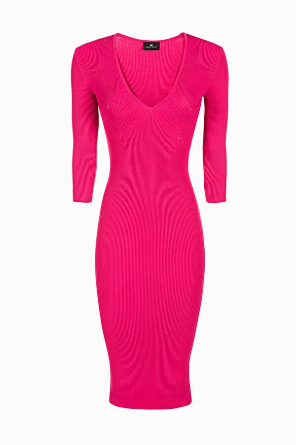 Sukienka dzianinowa w kolorze fuksji Elisabetta Franchi1
