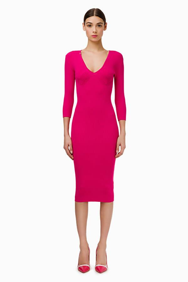 Sukienka dzianinowa w kolorze fuksji Elisabetta Franchi2