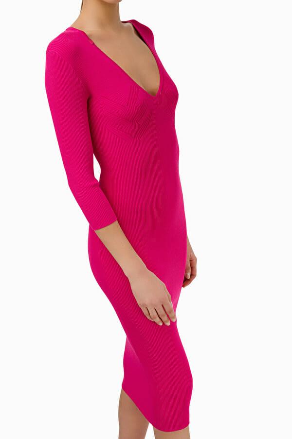 Sukienka dzianinowa w kolorze fuksji Elisabetta Franchi4