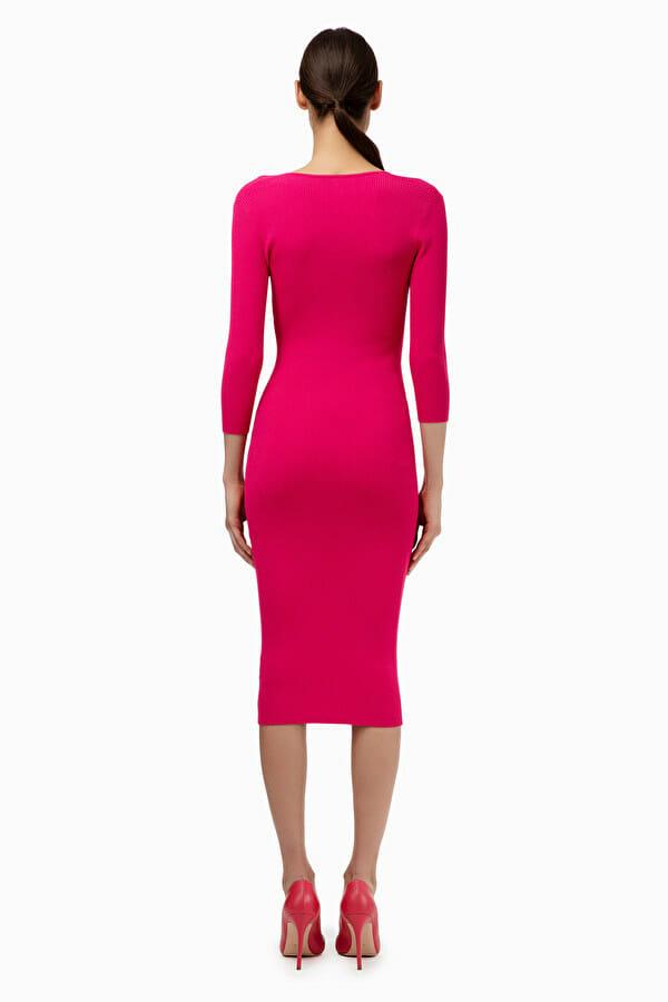 Sukienka dzianinowa w kolorze fuksji Elisabetta Franchi5