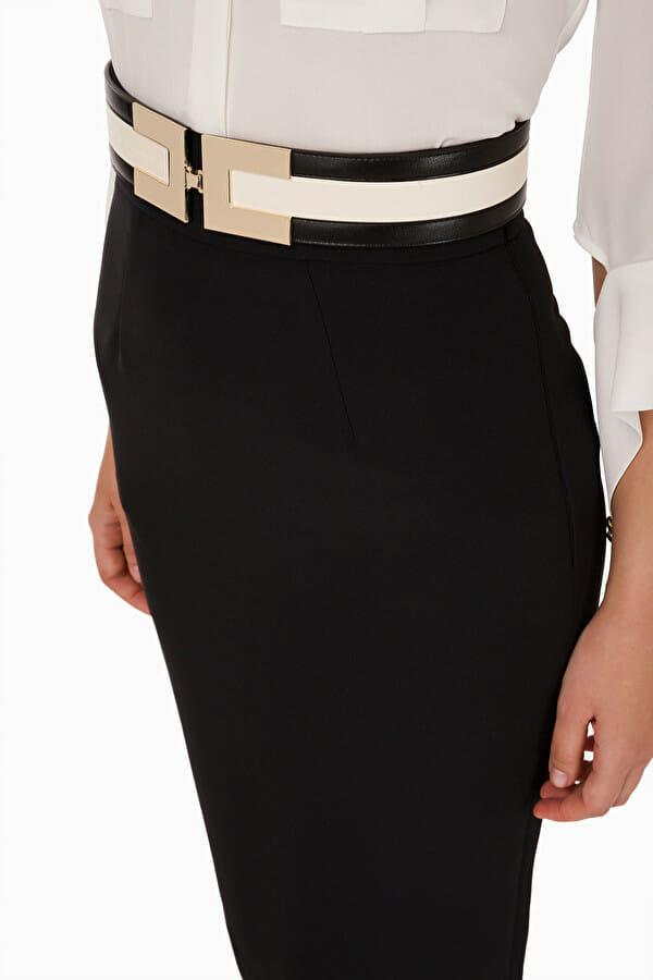 Czarna ołówkowa spódnica do kolan Elisabetta Franchi1