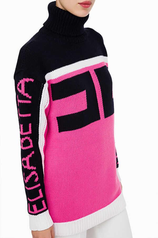 Dwukolorowy sweter z dużym logo Elisabetta Franchi1