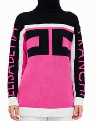 Dwukolorowy sweter z dużym logo Elisabetta Franchi3