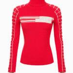 Sweter ze wstawkami retro (różowy / arbuzowy) - Elisabetta Franchi