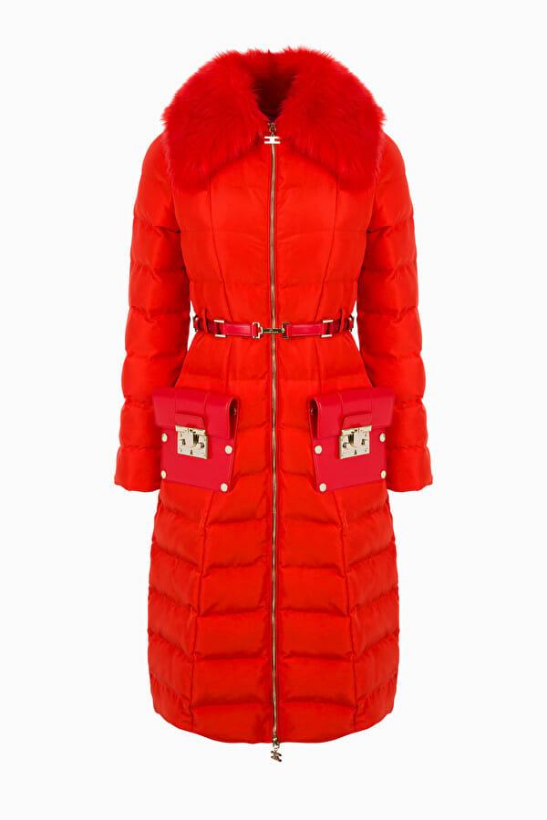 Płaszcz pikowany z pasem Elisabetta Franchi
