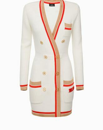 Sukienka dzianinowa dwurzędowa z guzikami 2 kolory Elisabetta Franchi1