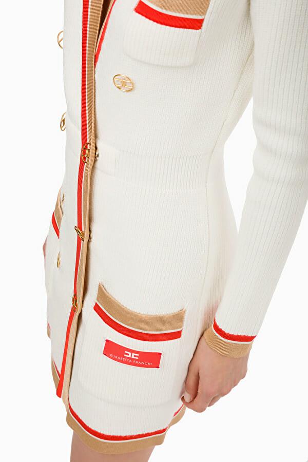 Sukienka dzianinowa dwurzędowa z guzikami 2 kolory Elisabetta Franchi4