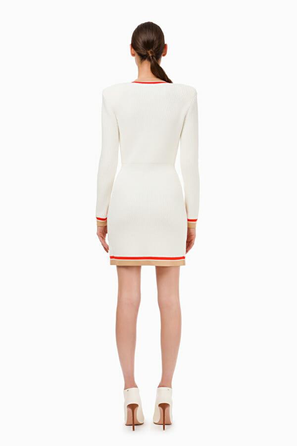 Sukienka dzianinowa dwurzędowa z guzikami 2 kolory Elisabetta Franchi5